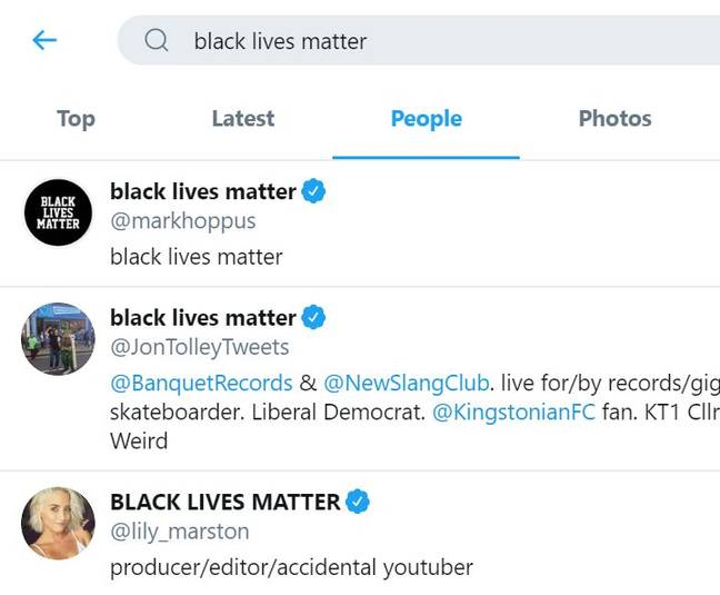Black Lives Matter search results Twitter