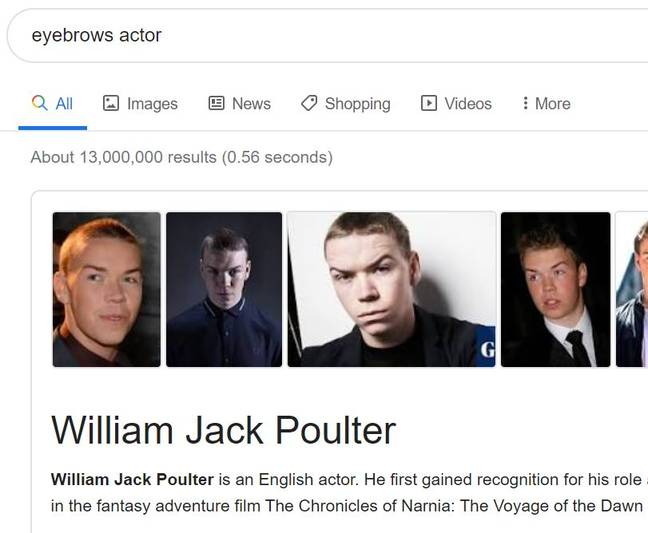 Eyebrows actor search brings up Will Poulter