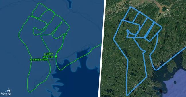 Pilot Draws Raised Fist Over Canada Using Plane As Tribute To George Floyd