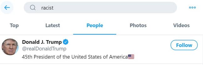 Donald Trump is first result on Twitter under search 'racist'