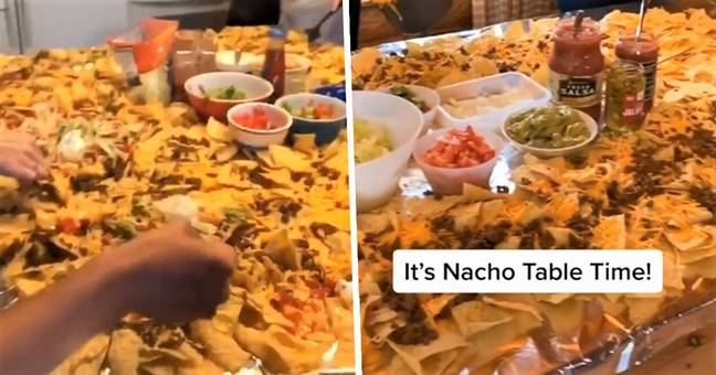 Genius Family Makes Giant 'Nacho Table' Instead Of Sharing Bowls