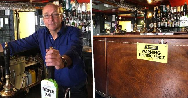 Pub Installs Electric Fence At The Bar To Maintain Social Distancing
