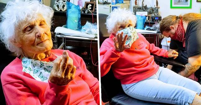 103-Year-Old Woman Gets First Tattoo To Cross It Off Her Bucket List