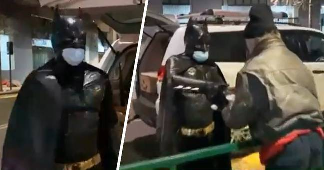 Guy Dressed As Batman Delivers Food To The Homeless In Chile