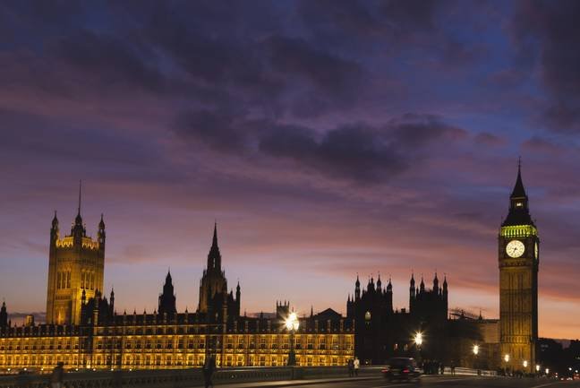 Houses Of Parliament At Sunset With Dramatic Sky, Westminster; London, England
