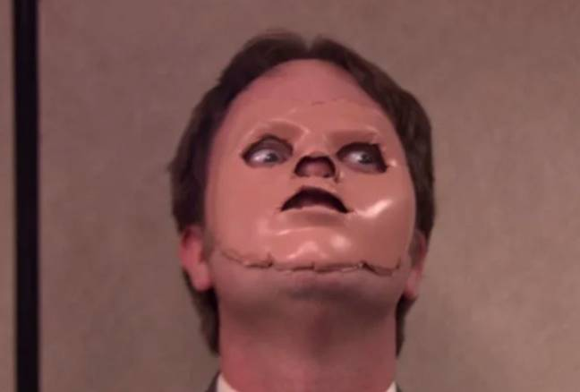 Dwight wearing a dummy face in The Office