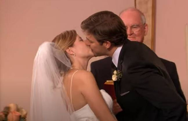 Jim and Pam getting married in The Office