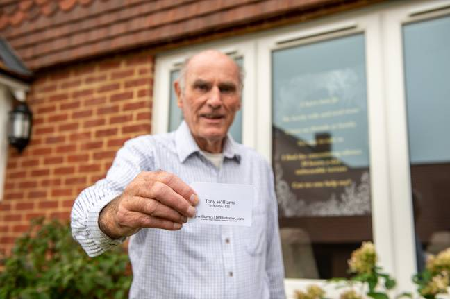 Tony Williams, 75, who put up a poster in his window asking for friends after the death of his wife