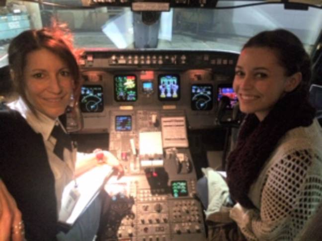 Mum and daughter in cockpit