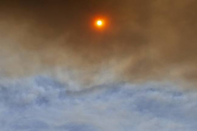 Smoke obscuring the sun