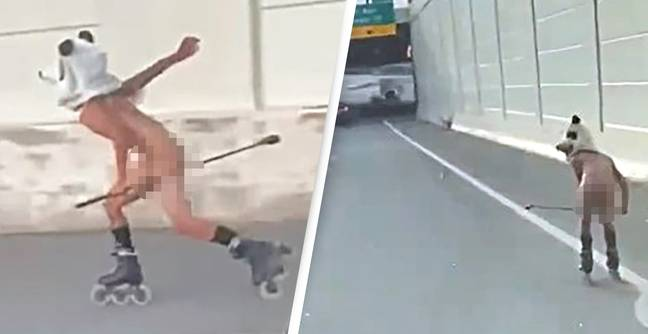 Naked Man Wearing Only A Panda Head Filmed Rollerblading On Highway