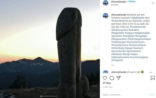 Penis-shaped statue in Germany