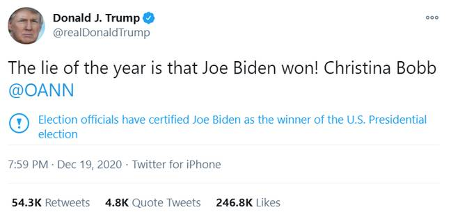 Twitter Tells Trump He Lost The Election To Biden On His Own Tweets