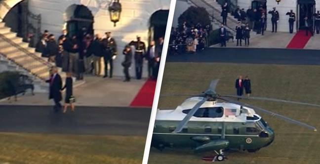 Trump Leaves White House For Last Time As President
