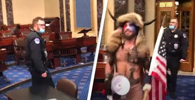 Capitol Riot Footage Shows Cop Politely Asking Mob To Leave Senate Chamber