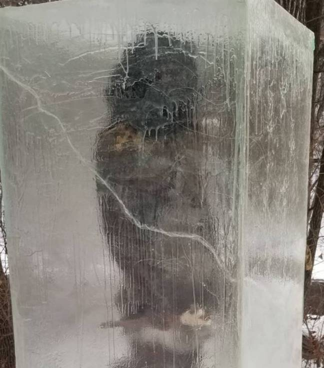 Frozen Caveman Sculpture Compared To Monolith Appears In Minneapolis