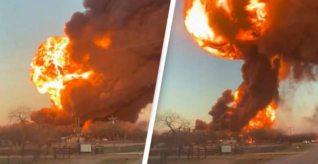 Train Collides With 18-Wheeler Causing Massive Explosion