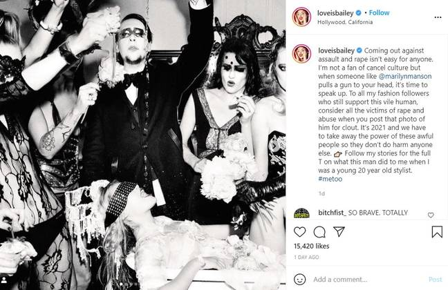 Love Bailey says Marilyn Manson held gun to her head