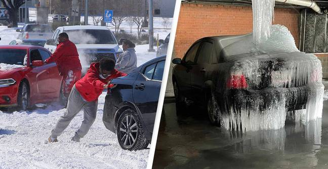 Car Parked Under Leaking Water Main Frozen Solid In Texas