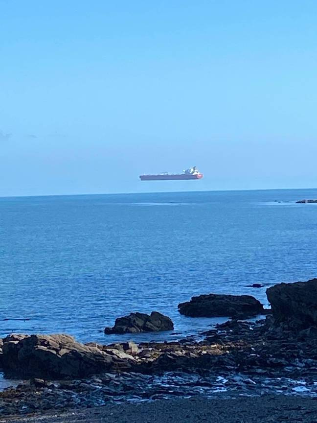 Ship seen 'floating' in cornwall