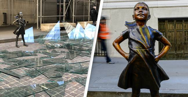 Fearless Girl On Wall Street Now Surrounded By A Broken Glass Ceiling