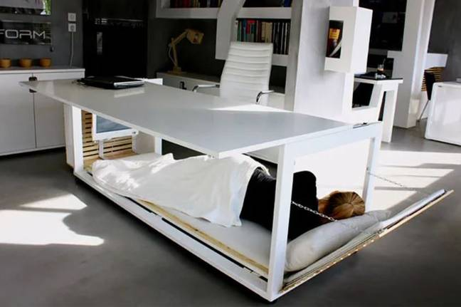 Desk lets employees nap while at work