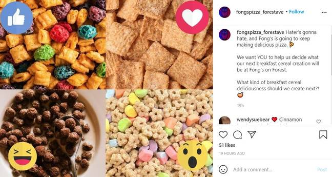 Pizza restaurant asks for ideas for cereal dishes