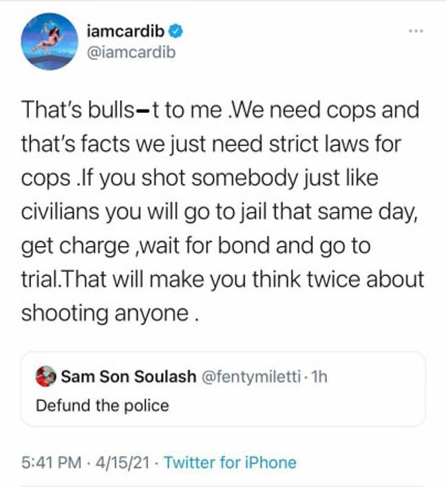 Cardi B Deletes Tweet Saying 'We Need Cops And That's Facts' After Backlash Online