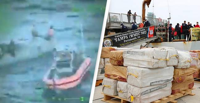 Video shows the moment the Coast Guard intercepted a stealth boat carrying 5,500 pounds of cocaine worth $94.6MILLION in Miami