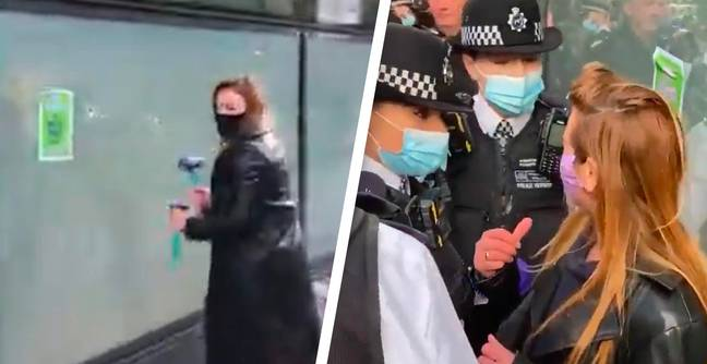 Extinction Rebellion Smash Windows At HSBC Headquarters During Earth Day Protest