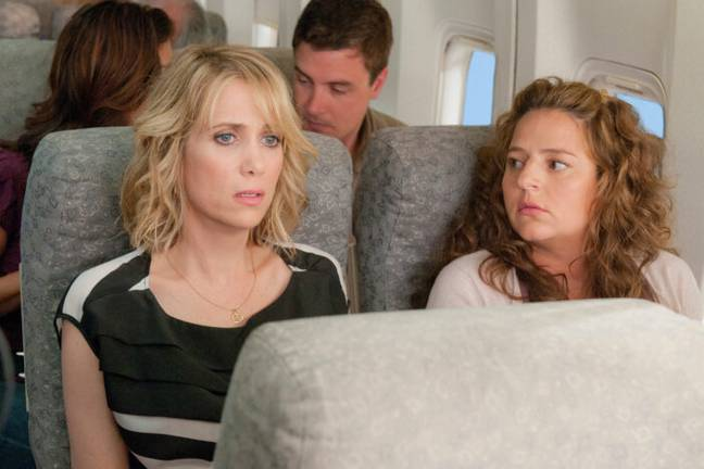 A still from the plane scene in Bridesmaids (Universal Pictures)
