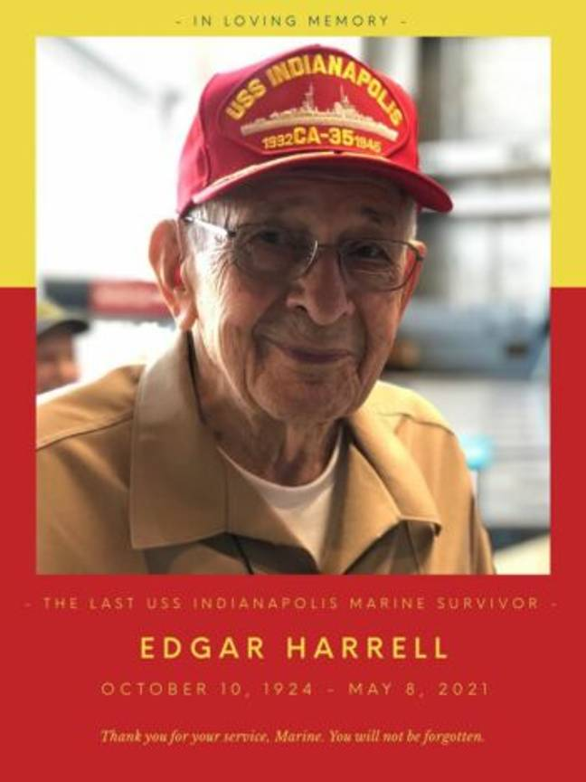 Picture of Edgar Harrell, the last surviving Marine of the USS Indianapolis (USS Indianapolis/Facebook)