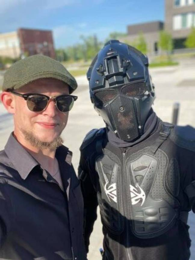ShadowVision posing with a fan