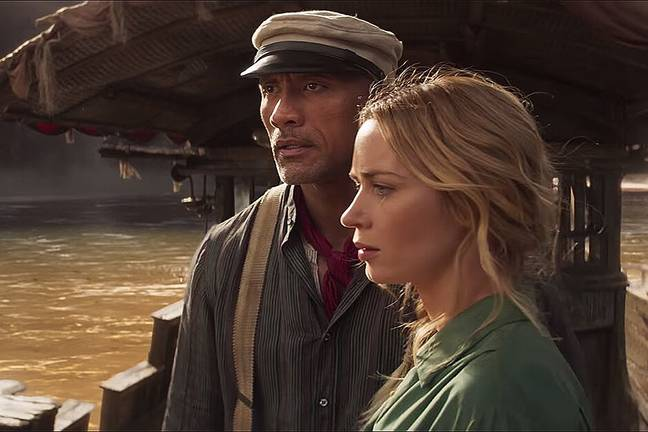 Dwayne Johnson and Emily Blunt in Jungle Cruise. (Disney)