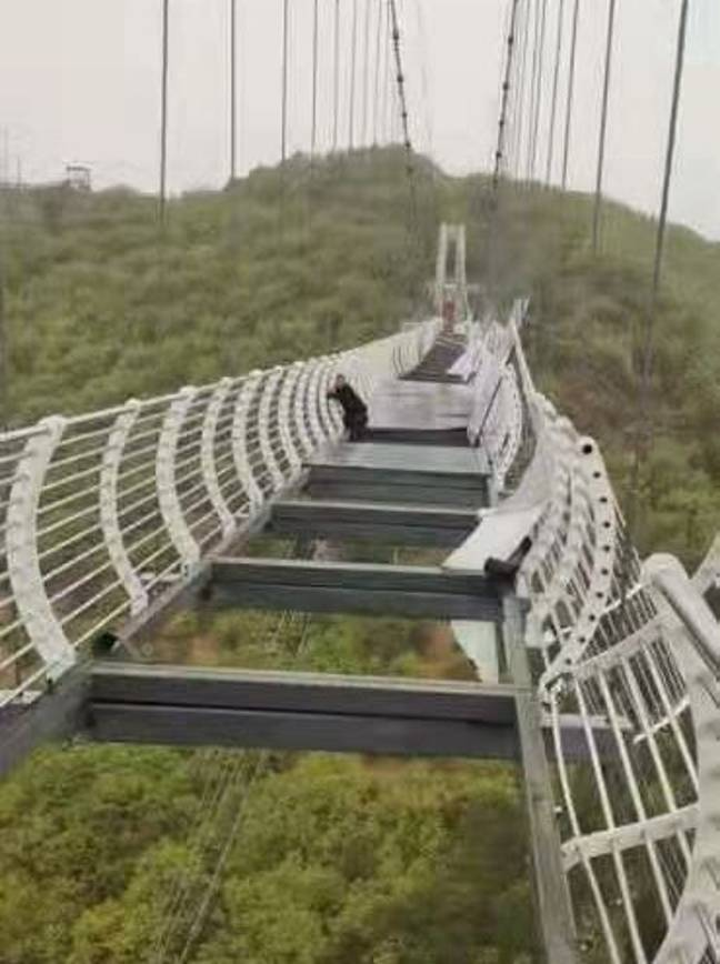A tourist was left stranded on a glass bridge in China. (Weibo)