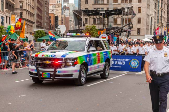 NYPD officers at the 2019 pride parade (PA Images)