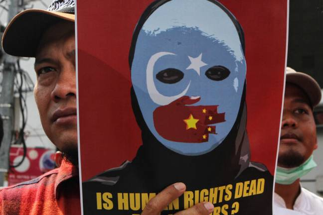 Protest about treatment of Uighur muslims