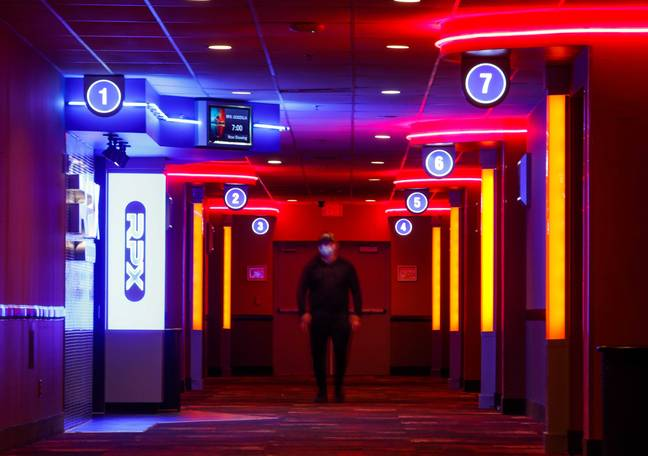 The glow of a Regal Cinemas hallway. (PA Images)