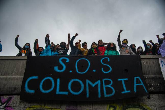 Protesters attend demonstration in Colombia