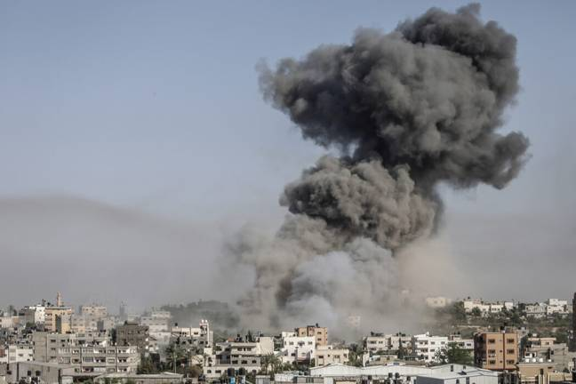 Smoke from an Israeli air strike on Gaza (PA Images)