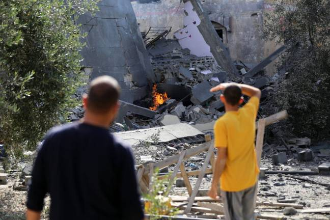 Destroyed houses in Gaza following airstrikes by Israel (PA Images)