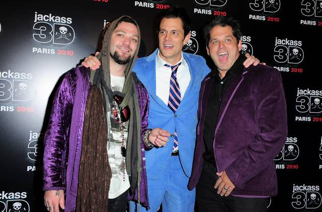 Bam Margera , Johnny Knoxville and Jeff Tremaine at Jackass 3D premiere (PA Images)