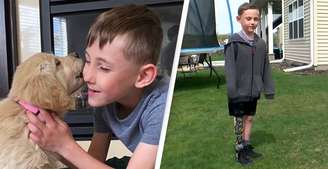 Boy With Prosthetic Leg Finds Best Friend In Golden Retriever Puppy Born Without Paw