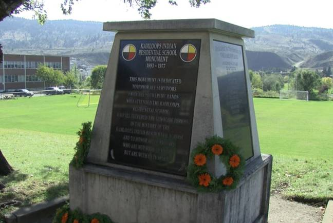 Monument at Kamloops Indian Residential School (CFJC Today)