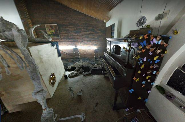 Butterflies and piano in creepy room (Google Maps)
