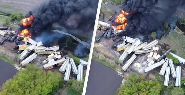 Shocking Video Shows Derailed Train Containing Explosives On Fire After Bridge Collapses