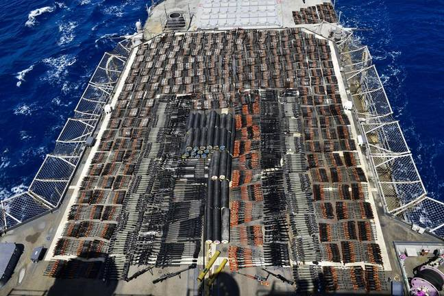 Illegal arms shipment discovered in Arabian sea