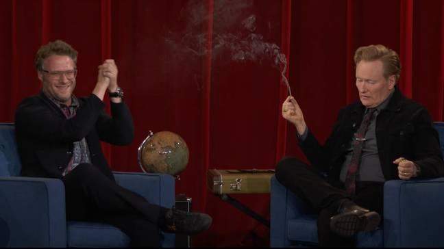 Conan O'Brien smoked weed with Seth Rogen. (TBS)