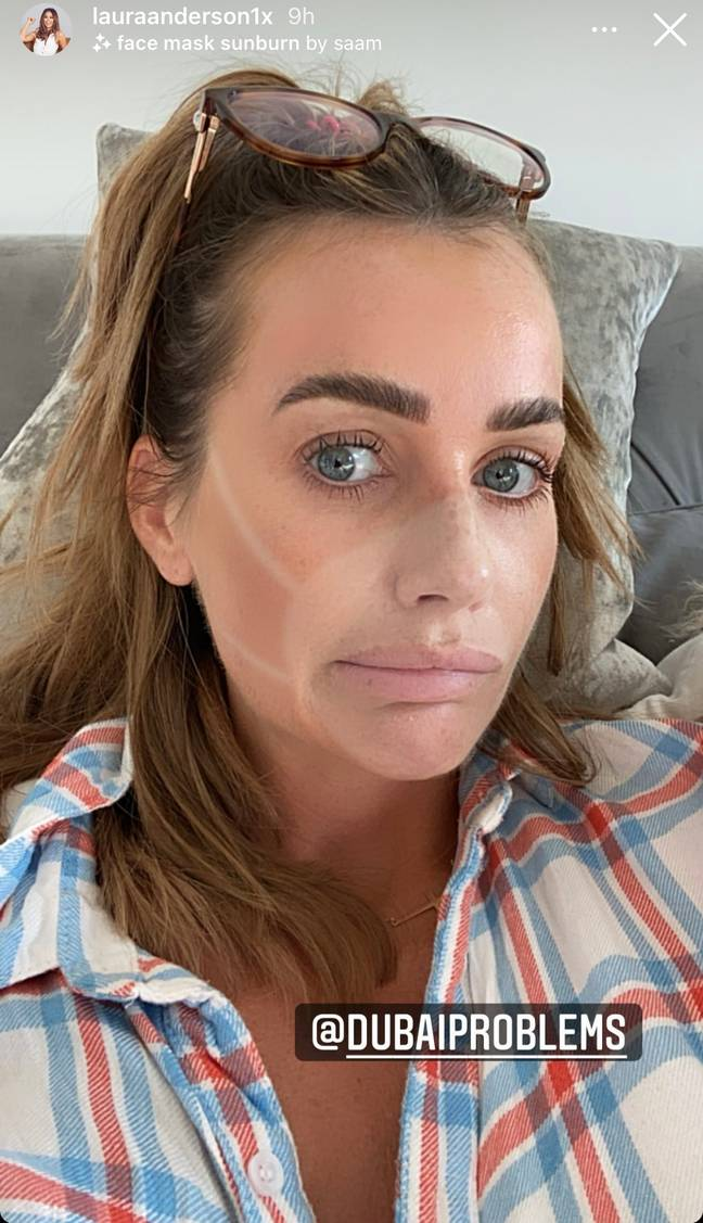 Laura Anderson using face mask filter (Laura Anderson/Instagram)