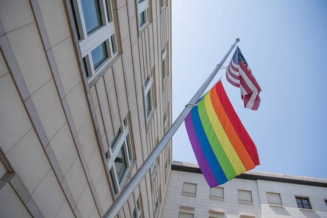 Pride Flag and US Flag (PA Images)